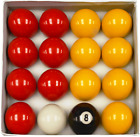 "REDS & YELLOWS 1 1/2"" (3.81) POOL BALLS COMES WITH OR WITHOUT TRIANGLE £14.38 GBP on eBay"