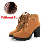 Fashion Womens Ladies Ankle Boots High Block Heel Buckle Lace Up Casual Shoes