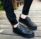 Men's Fashion Vintage Brogue Carved Wing Tip Creepers High Platform Shoes Casual