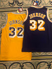 NWT Magic Johnson #32 Los Angeles Lakers Men's Throwback Gold / Purple Jersey