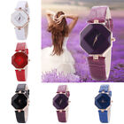 Women Gem Cut Geometry Crystal Leather Quartz Wristwatches Fashion Dress Watches image