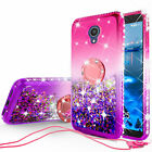 For Alcatel 1x Evolve Ring Stand Liquid Glitter Phone Case w/Kickstand