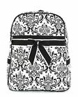 Quilted paisley floral zippered backpack bookbag QND2746(BK) BS795