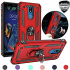For LG K40/Xpression Plus 2/Solo Magnetic Support Ring Stand Case+Tempered Glass