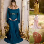 Women Pregnant Party Photography Off Shoulder Maternity Solid Long Dress Gown ED
