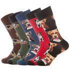 5 Pack Mens Funny Crazy Puppy Novelty Crew Socks size 10-13