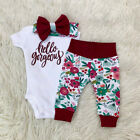 3pcs Newborn Kids Baby Girl Outfits Clothes Romper Bodysuit Pants Leggings Set