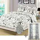 Twin, Queen, or King Paris Quilt Set with Curtains Eiffel Tower Black and White image