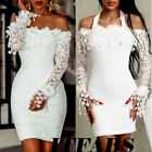 US Women Bodycon Lace Dress Evening Party Cocktail Bridesmaid Wedding Mini Dress