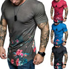 Men's Slim Fit O Neck Short Sleeve Flower Muscle Tee T-shirt Casual Blouse Tops image