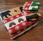 *SALE* CHRISTMAS LOG CABIN WINTER BLACK BEAR PINECONE RED SNOWFLAKE QUILT SET