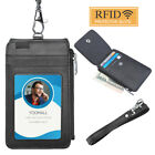 US PU Leather ID Badge Card Holder Vertical Neck Strap Lanyard Necklace Case