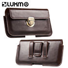 Mens Universal Leather Cell Phone Case Cover Pouch Holster Belt Purse Waist Bag