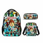 S/3 Roblox Character Kids Boy Large School Backpack Shoulder Bag Pencil Case Lot