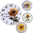Battery Operated Silent Vintage Non Ticking Wall Clock Sunflower European Style