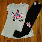 NWT Justice Girls Outfit Unicorn Top/Leggings Size 8 10