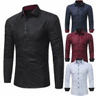 Men's Luxury Shirt Slim Business Formal Fit Dress Shirts Long Sleeve Tops Jd_uk