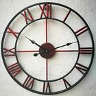 Vintage Wall Clock Metal Retro Hanging Hollow Iron Large Mute Roman Numeral