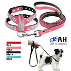 Bling Leather Rhinestone Pets Dog Collars And Leads Leash For Small Medium Dogs