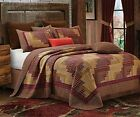 MONTANA LOG CABIN RED TAN COUNTRY PLAID CHECK MOUNTAIN LODGE 3pc FQK QUILT SET image