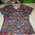 Rudolph The Red Nosed Reindeer Christmas Scrubs Ladies/Womens NEW free usa ship