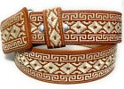 CINTO CHARRO BORDADO. MENS EMBROIDERED WESTERN BELT PITIADO VAQUERO LEATHER BELT