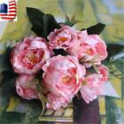 76 Us New Artificial Peony Silk Flowers Leaf Bouquet Home Floral Wedding Decor