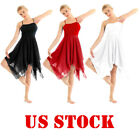 US Women Ballet Leotard Dance Dress Ladies Asymmetric Hem Contemporary Dancewear