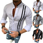 Men Striped Long Sleeve Button Shirts Work Formal Business Slim Tee T-Shirt Tops image