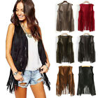 Women Autumn Winter Suede Ethnic Sleeveless Tassels Fringed Tops Vest Cardigan