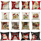 "18""xmas Christmas Cushion Cover Santa Linen Pillow Case Merry Claus Home Decor"
