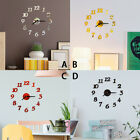 3D DIY Roman Numbers Acrylic Mirror Wall Sticker Clock Home Decor Mural Decal US