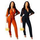 NEW Trendy Women's Buttons Belted Long Sleeves Solid Skinny Long Jumpsuit Party