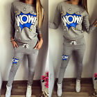 2Pcs Women's Tracksuit Hoodie Sweatshirt Tops Pants Set Printed Sport Sweat Suit