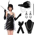 Ladies Gatsby Fancy Dress Accessories Flapper 1920'S Charleston Girl Dress Set