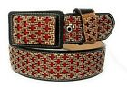 MEN'S WESTERN LEATHER BELT. SADDLE HORSE COWBOY RODEO BELT. CINTO CHARRO VAQUERO