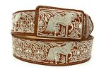 CINTO CHARRO BORDADO. MENS HORSE EMBROIDERED WESTERN BELT. VAQUERO LEATHER BELT