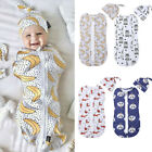 Kyпить 2PCS 0-6M Newborn Baby Zipper Swaddle Blanket Wrap Sleeping Bag Sacks Hat Outfit на еВаy.соm