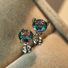 Exquisite Round Cut Rainbow Topaz Stud Earrings 925 Silver Wedding Jewelry Gifts