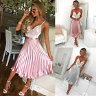 Vintage New Women Ladies High Waist Swing A Line Pleated Skater Midi Skirt S-XL