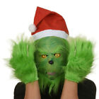 The Grinch Full Head Latex Mask Wig And Xmas Hat Monster Adult Costume Christmas