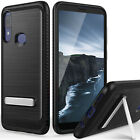 For Alcatel 3V 2019 /5032w Case, Brushed Armor Rubber Kickstand +Tempered Glass