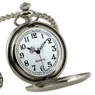 Vintage Men Classic Pocket Watch Steampunk Smooth Surface Pendant Chain Newly image
