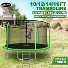 Genki 10/12/14/16ft Junior Round Trampoline with Safety Enclosure Jumping Green