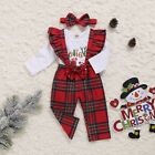 US Newborn Baby Girl My First Christmas Tops Romper Bib Pants Hat Outfit Clothes
