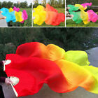 Women Bamboo Fans Tie dyed Belly Dance Hand Fan Veils long Silk Long Fan Stage