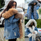 New Womens Fur Lining Coat Winter Warm Thick Long Jacket Outdoor Hooded Parka US