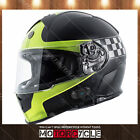 T14B Full Face Motorcycle Helmet Bluetooth Racing Sport Flat Black HiViz Cham M