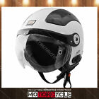 O528 Retro Vintage Cafe Scooter Motorcycle Bluetooth Helmet Gloss White XL DOT