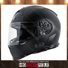 T14B Full Face Motorcycle Helmet Bluetooth Dual Visor Racing Sport Flat Black L